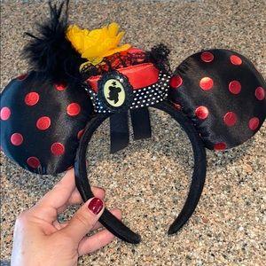 Minnie Mouse Ears red polka dot mini hat & brooch